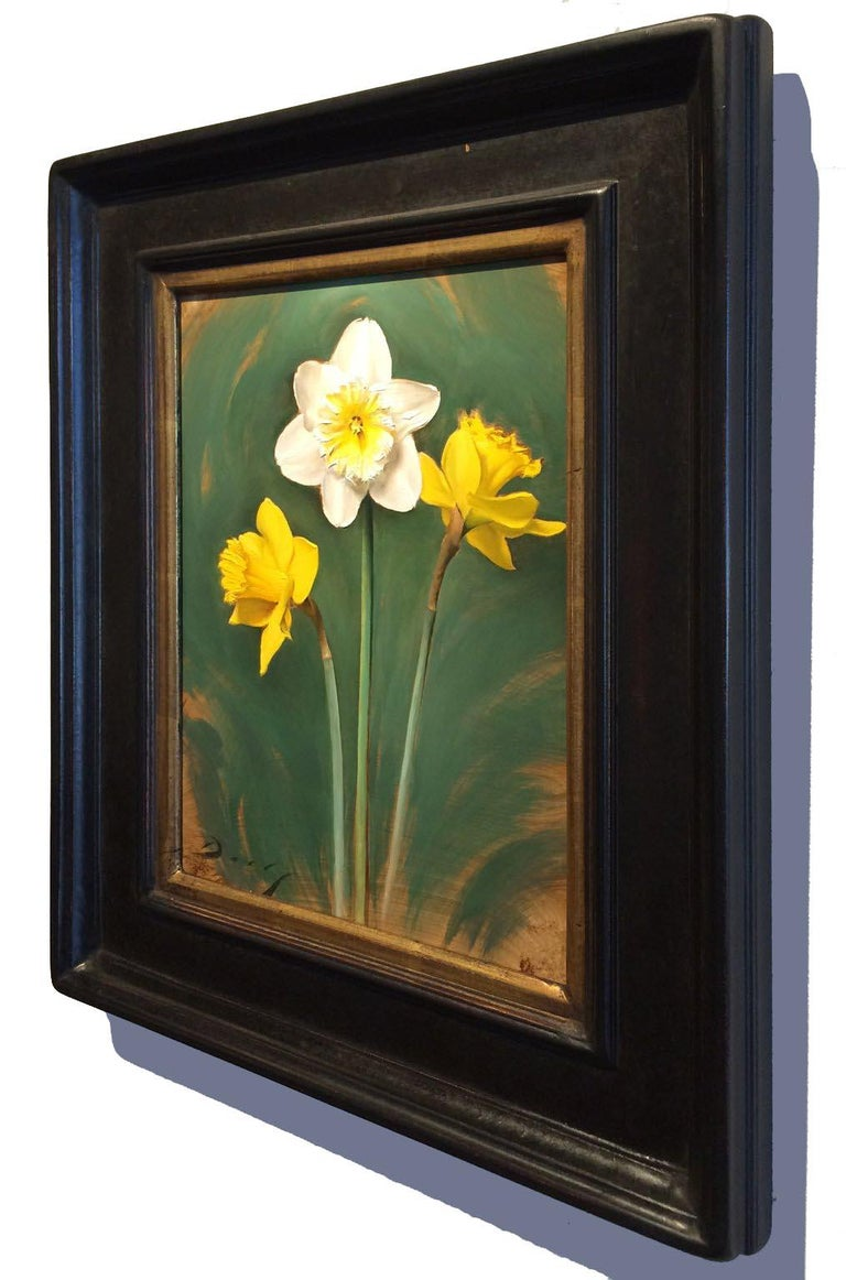 Realist yellow white and green flowers,