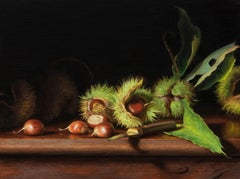 """Still Life with Freshly Fallen Chestnuts"" (Realist Oil Painting)"