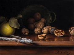 """Still Life with Walnuts and Quince"" (Realist oil painting)"