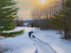 "Winter Landscape, ""Going Home"", oil on linen on panel (Realism, Naturalism)"