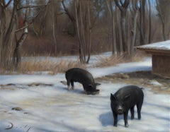 "Winter Landscapes with animals, ""Pigs in Winter"" (Realism, Naturalism)"
