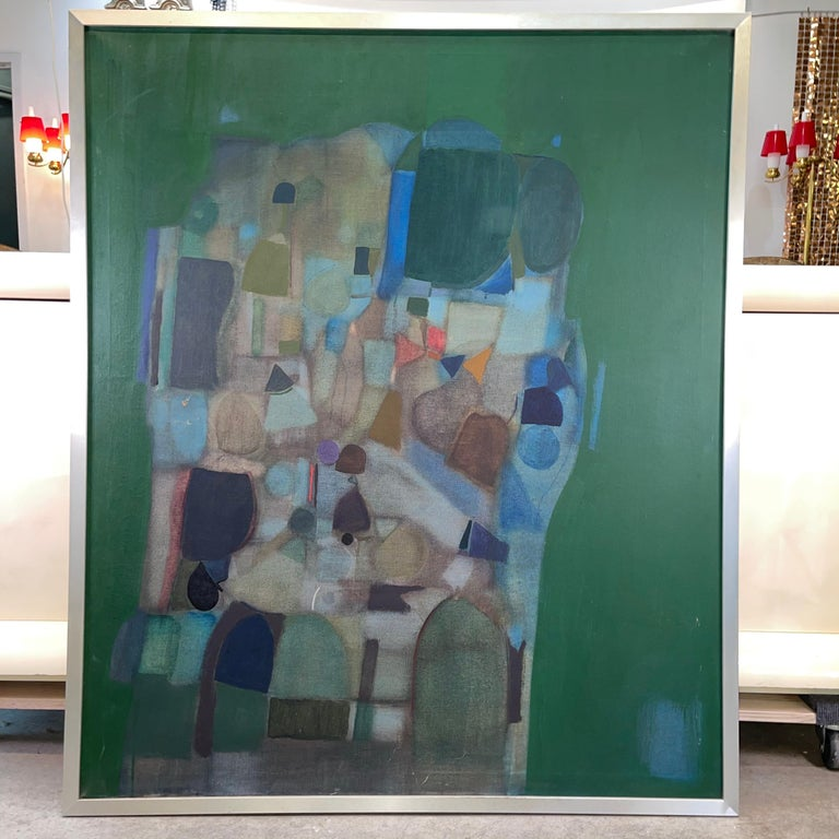 Large abstract modernist oil on canvas painting by Joseph Raffaele / Raffael (born 1933) from his first solo exhibition at Kanegis Gallery, Newbury St. Boston in November 1958. Concurrently Raffaele had left for Italy on a two year Fulbright