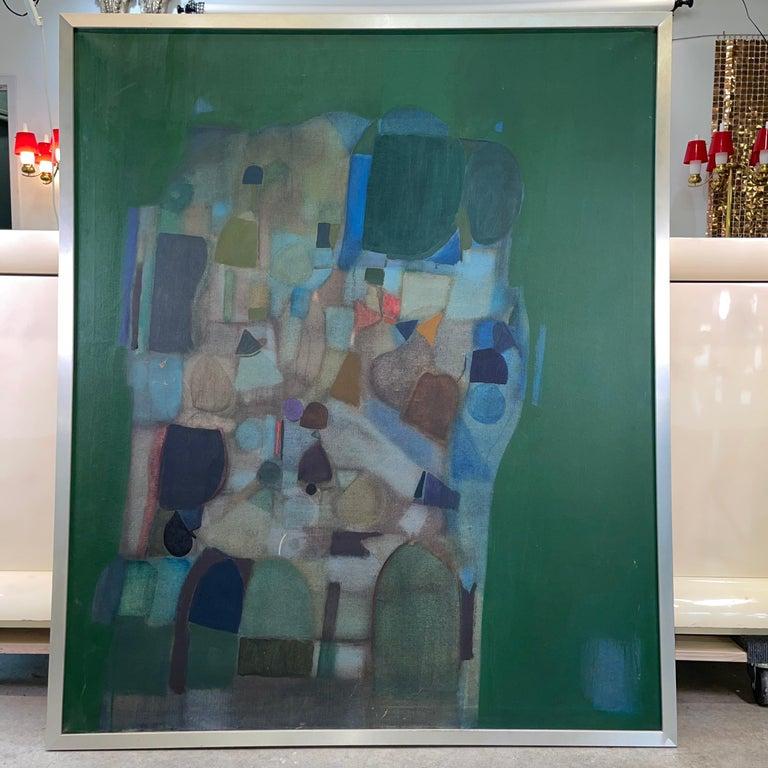 Mid-Century Modern Joseph Raffaele, Abstract Oil on Canvas, 1958 For Sale
