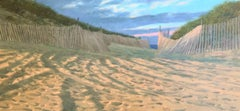 """""""Beach Path"""" Sandy Beach with fence in Yellows Blues with Pink in Sunset Sky"""