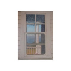 """""""Narraganset Window"""" Blue, Yellow Landscape of Sea, White Country House"""