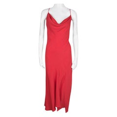 Joseph Red Crepe Noodle Strap Cross Back Naomi Dress M