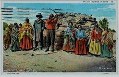 """""""Navajo Indians At Home,"""" Color Lithograph Postcard by Joseph Roy Willis"""