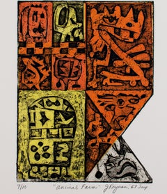 """Animal Farm"" from 'Los Animales Portfolio,"" Collagraph signed by Joseph Rozman"