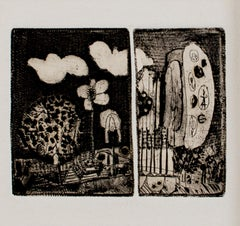 """Double Landscape,"" black and white two-plate landscape etching by Joseph Rozman"