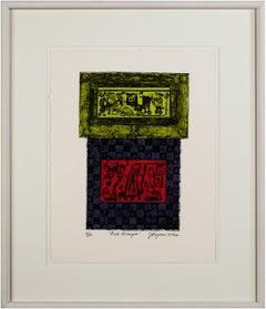 """Red Dragon"" (Los Animales) Original Color Collagraph signed by Joseph Rozman"