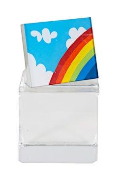 """Rainbow Pin,"" serigraph pin on plexiglas by Joesph Rozman"