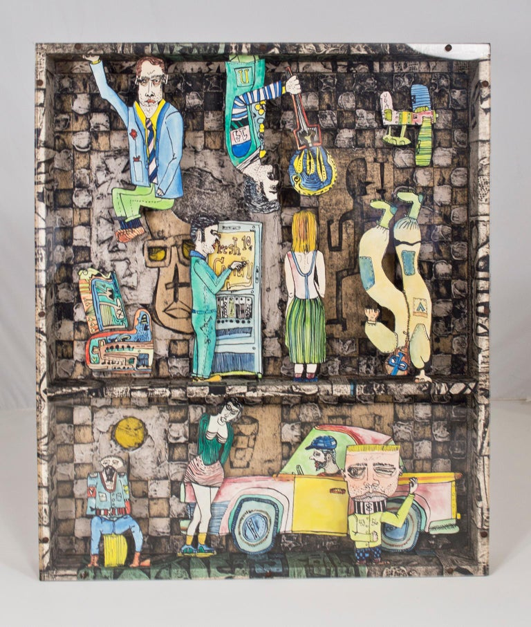 """""""Sweet Tooth"""" is an original watercolor and ink construction by Joseph Rozman. This artwork features a variety of surreal, cartoon figures going about their lives on the street. The artist inserted himself into the artwork--purchasing candy from the"""