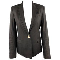 JOSEPH Size M Black Linen Blend Single Button Blazer
