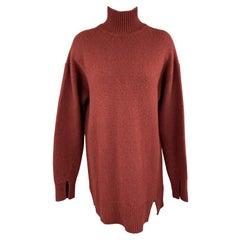 JOSEPH Size M Burgundy Cashmere Oversized Turtleneck Sweater