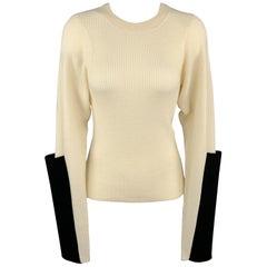 JOSEPH Size S Beige Merino Wool Waffel Knit Black Sleeve Pullover