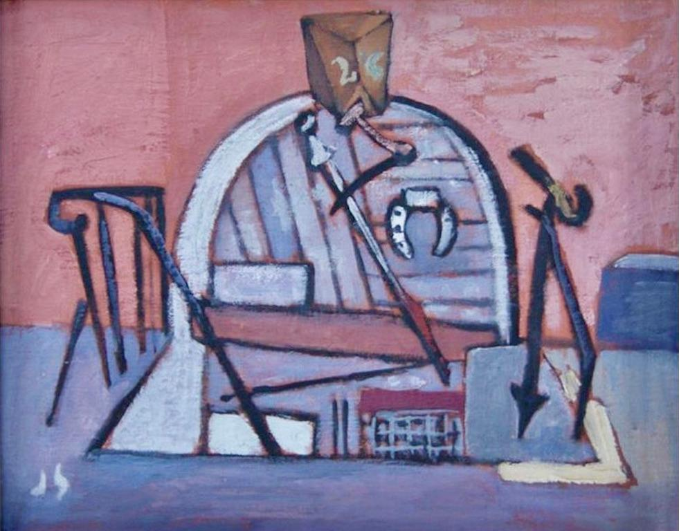 """WPA American Scene Modernism 20th Century NYC Industrial """"Cellar with Horseshoe"""""""
