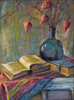 Still Life of Books and Chinese Lanterns