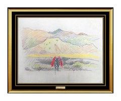 Joseph Stella Authentic Original Painting Landscape Mountain Pastel Artwork Rare