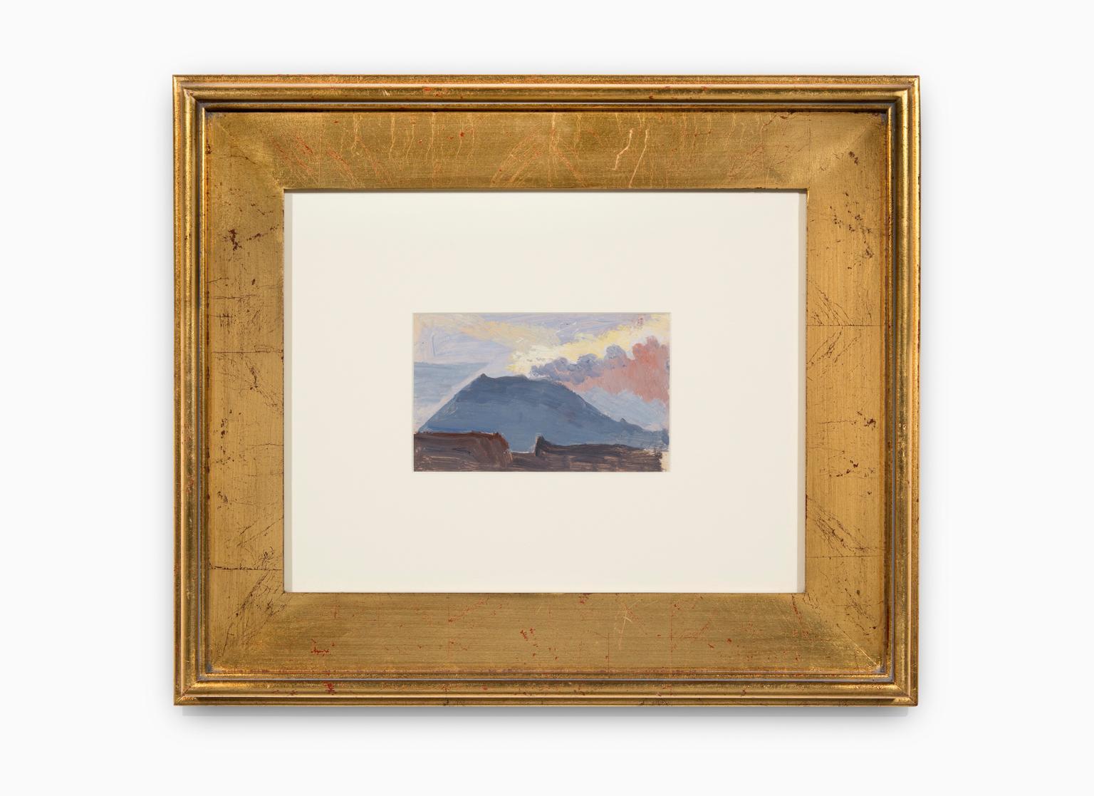 """Study of Mt. Vesuvius"" Oil on Canvas, Blue Tones, Landscape"