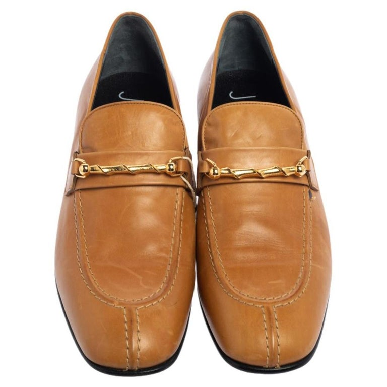 Brown Joseph Tan Leather Embellished Slip On Loafers Size 39