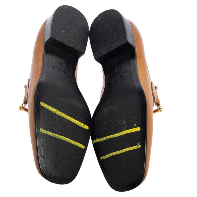 Joseph Tan Leather Embellished Slip On Loafers Size 39 1