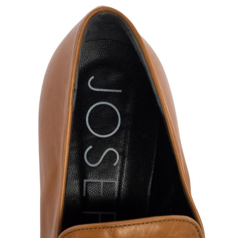 Joseph Tan Leather Embellished Slip On Loafers Size 39 2