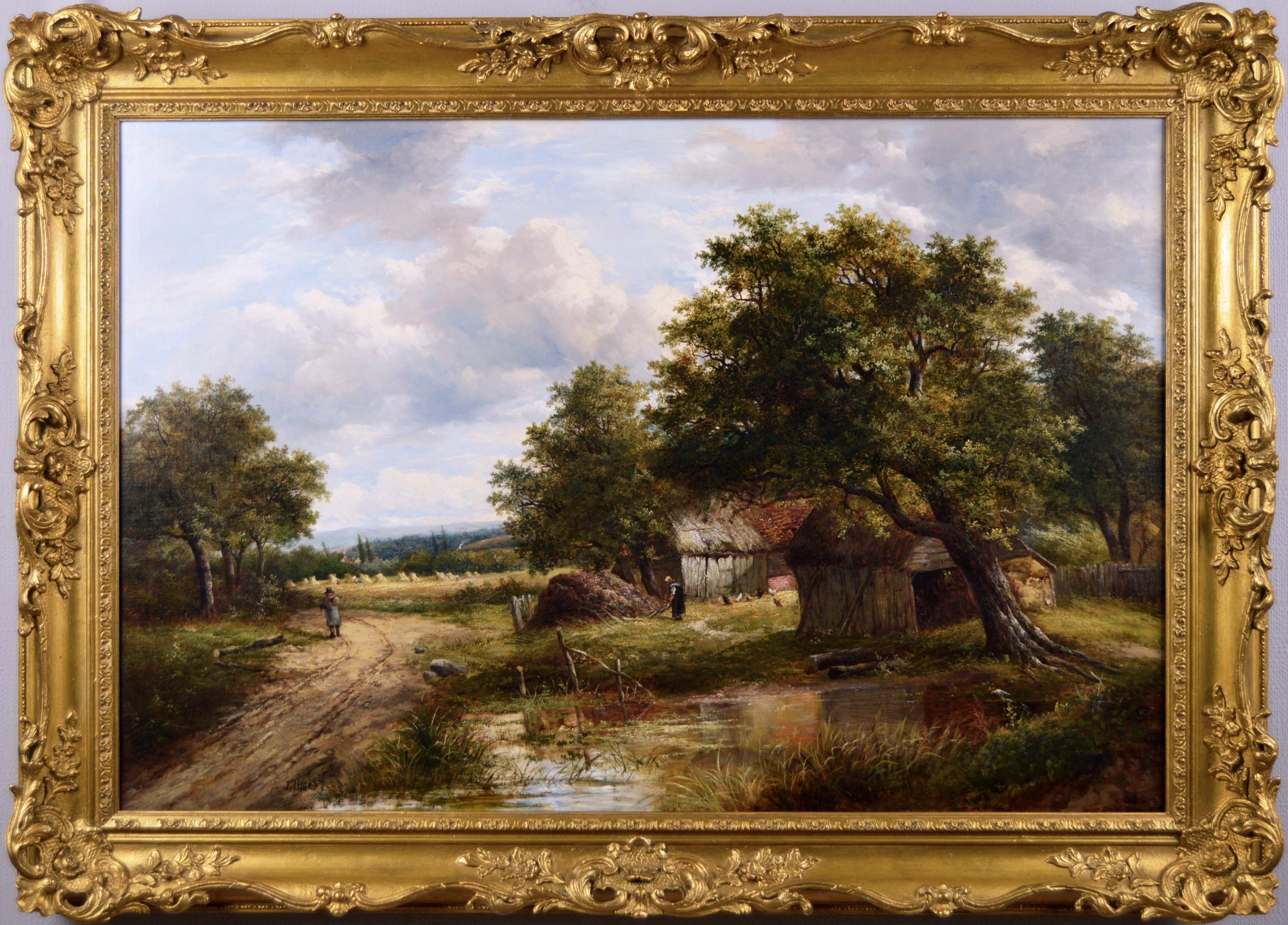 19th Century landscape oil painting of a barn near a cornfield