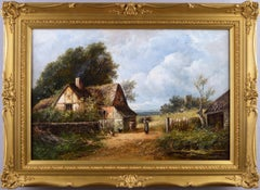 19th Century landscape oil painting of a cottage near a church