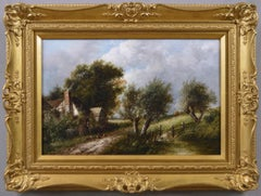 19th Century landscape oil painting of a country cottage