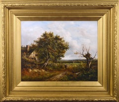 19th Century landscape oil painting of a country track