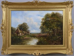 19th Century landscape oil painting of a duck pond by a cottage