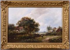 19th Century landscape oil painting of a farm cottage