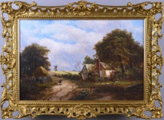 19th Century landscape oil painting of a windmill by a cottage