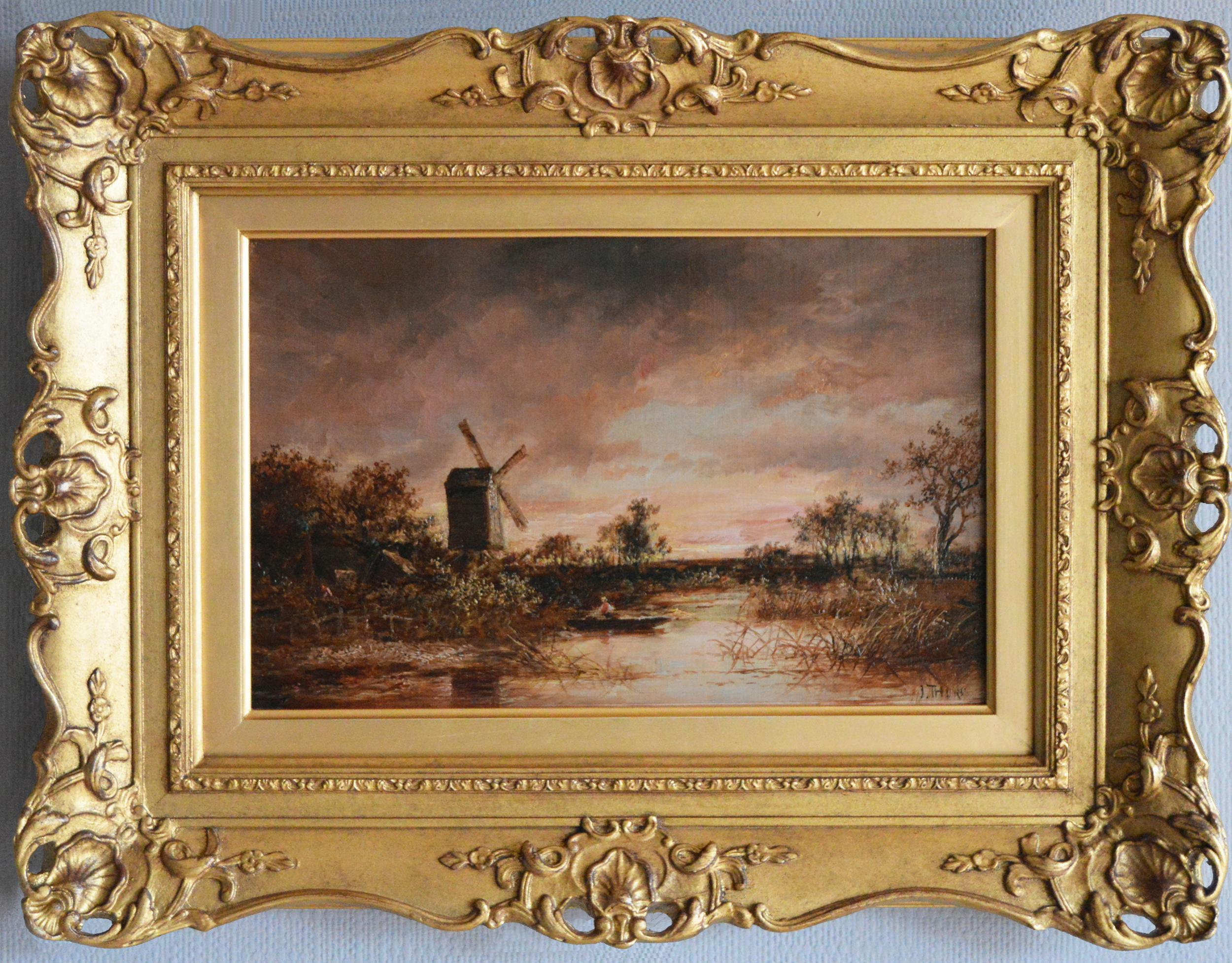 19th Century landscape oil painting of a windmill by a river