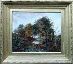 A Wooded Landscape  - British Victorian art romantic landscape oil painting
