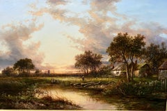 Evening By The River - Oil On Canvas, Landscape by Joseph Thors
