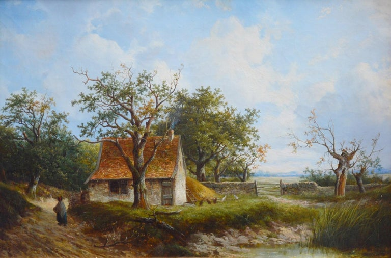 'Near Stratford-upon-Avon' by Joseph Thors (1835-1920).  A fine 19th century landscape oil on canvas depicting a single figure and chickens outside a country cottage near William Shakespeare's birthplace, Stratford-upon-Avon. The painting is signed