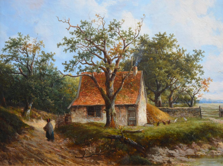 Near Stratford upon Avon - 19th Century Landscape Oil Painting 1