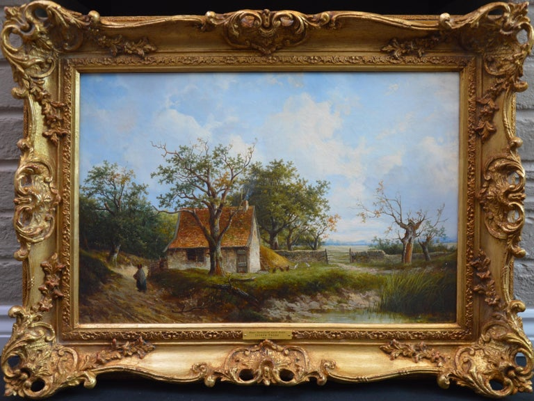 Joseph Thors Figurative Painting - Near Stratford upon Avon - 19th Century Landscape Oil Painting