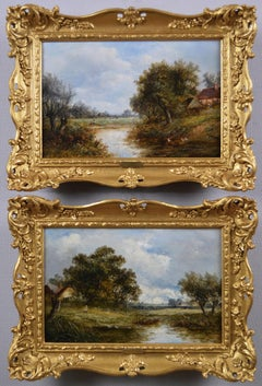 Pair of 19th Century landscape oil paintings of figures by a duck pond