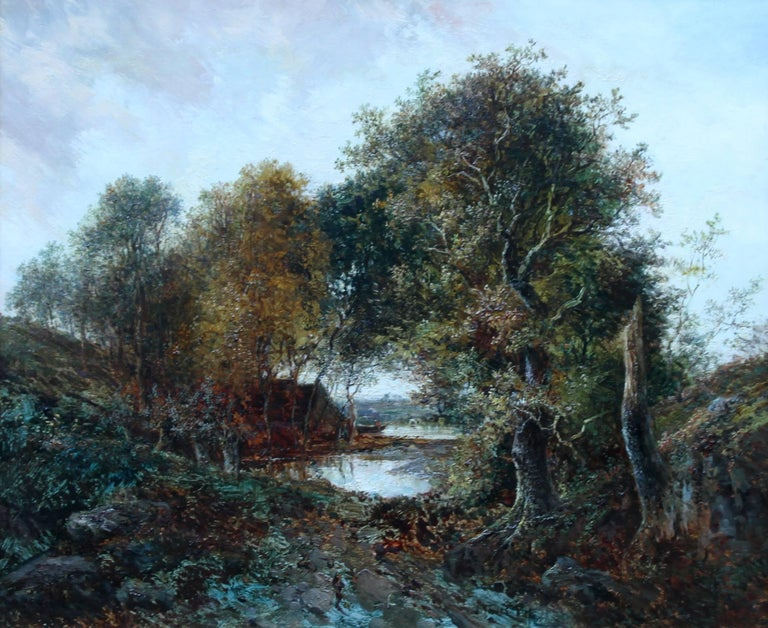 Solitude Westphalia - British Victorian art romantic landscape oil painting  - Painting by Joseph Thors