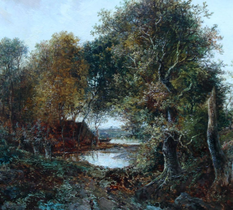 Solitude Westphalia - British Victorian art romantic landscape oil painting  - Romantic Painting by Joseph Thors