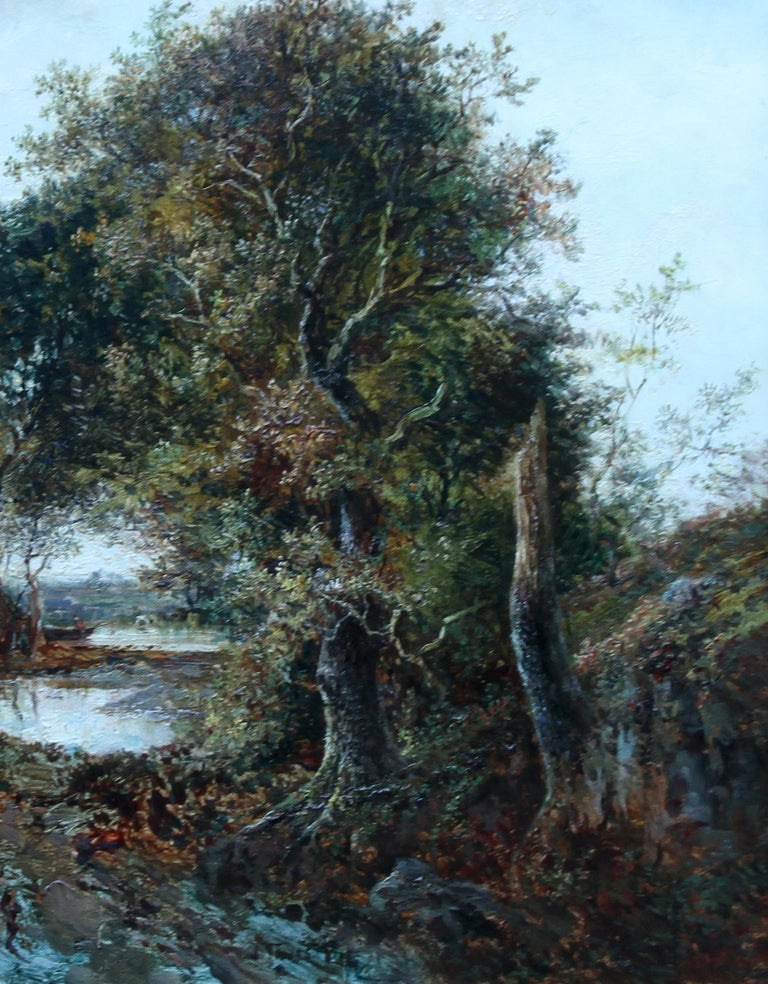 Solitude Westphalia - British Victorian art romantic landscape oil painting  - Gray Landscape Painting by Joseph Thors
