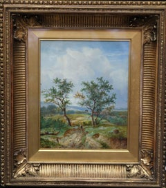 The Path Home - British 19thC Victorian art oil painting rustic landscape