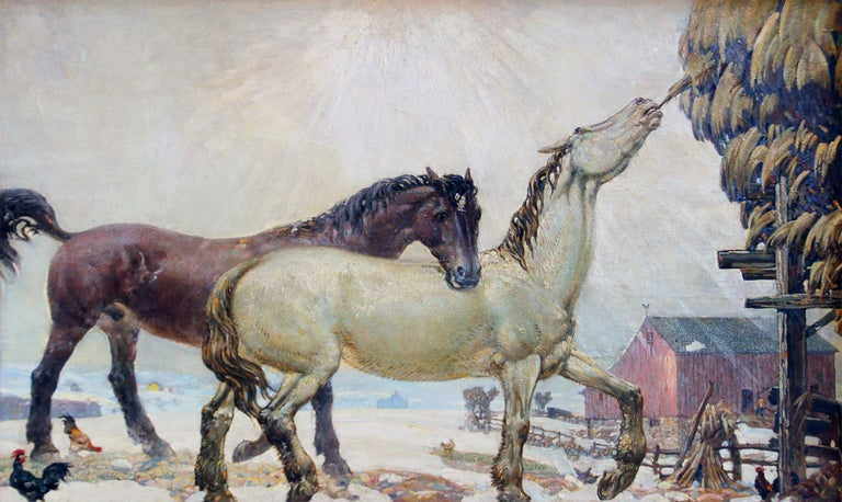 Horses Feeding, American Impressionist Landscape, Equestrian, Oil on Masonite - Painting by Joseph Thurman Pearson Jr.
