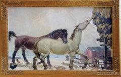 Horses Feeding, American Impressionist Landscape, Equestrian, Oil on Masonite
