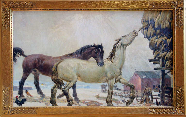 Joseph Thurman Pearson Jr. Animal Painting - Horses Feeding, American Impressionist Landscape, Equestrian, Oil on Masonite