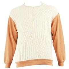 Joseph Tricot Homme Men's Vintage Cable Knit & Orange Cotton Sweatshirt, 1990s