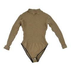 Joseph Tricot Vintage Women's Brown Wool Cable Knit Bodysuit Top, 1990s