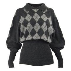 Joseph Tricot Vintage Women's Pure Wool Argyle Pattern Balloon Sleeve Sweater M